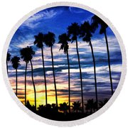La Jolla Silhouette - Digital Painting Round Beach Towel by Sharon Soberon