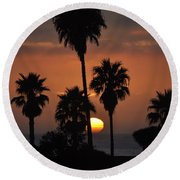 La Jolla Sunset Round Beach Towel
