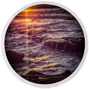 Round Beach Towel featuring the photograph La Jolla Sunset-color by Samuel M Purvis III