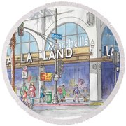 La La Land And Marshalls Stores In Hollywood Blvd., Hollywood, California Round Beach Towel