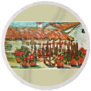 Round Beach Towel featuring the painting La Mancha by Mindy Newman