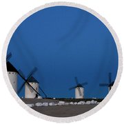 Round Beach Towel featuring the photograph La Mancha Windmills by Heiko Koehrer-Wagner