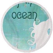 La Mer Mermaid 1 Round Beach Towel