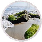 Round Beach Towel featuring the photograph La Piedra Shore Malibu by Kyle Hanson