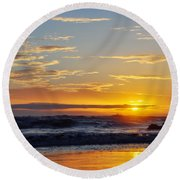 Round Beach Towel featuring the photograph La Piedra Sunset Malibu by Kyle Hanson