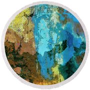 Round Beach Towel featuring the painting La Playa by Dominic Piperata