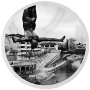 La Plongueuse Over The Midouze River Round Beach Towel by RicardMN Photography