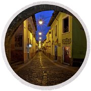 La Ronda Calle In Old Town Quito, Ecuador Round Beach Towel by Sam Antonio Photography