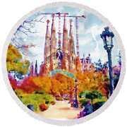La Sagrada Familia - Park View Round Beach Towel