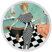 La Toilette -- Woman In Whimsical Art Deco Bathroom Round Beach Towel