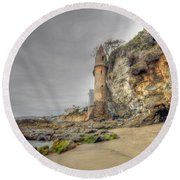 La Tour By The Sea Round Beach Towel