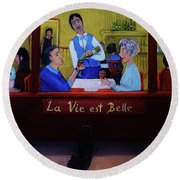La Vie Est Belle Round Beach Towel by Reb Frost