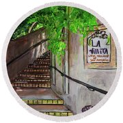 Round Beach Towel featuring the painting La Villita by TM Gand