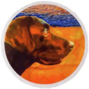 Round Beach Towel featuring the painting Lab At Sunset by Joseph J Stevens