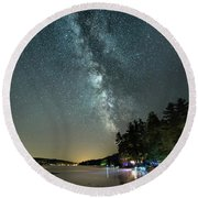 Labor Day Milky Way In Vacationland Round Beach Towel