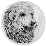 Round Beach Towel featuring the drawing Labradoodle by Terri Mills