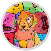 Round Beach Towel featuring the digital art Labrador Popart By Nico Bielow by Nico Bielow
