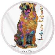 Labrador Retriever Pop Art Round Beach Towel