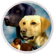 Labrador Retrievers Round Beach Towel