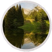 Lac De Fontaine Reflections Round Beach Towel