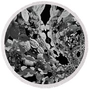 Lace Cap Hydrangea Flower Abstract Round Beach Towel