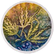 Round Beach Towel featuring the painting Lace Leaves by Nancy Jolley