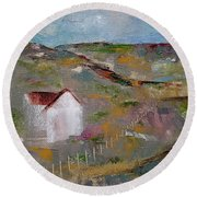 Round Beach Towel featuring the painting Lackawanna Capture by Judith Rhue