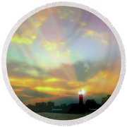 Round Beach Towel featuring the photograph Lackawanna Transit Sunset by Diana Angstadt