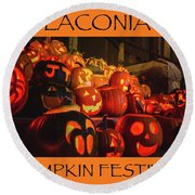 Laconia Pumpkin Festival Graphic Design 2 Round Beach Towel