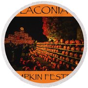 Laconia Pumpkin Festival Graphic Design 3 Round Beach Towel