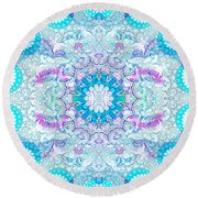 Round Beach Towel featuring the digital art Lacy Mandala by Bee-Bee Deigner
