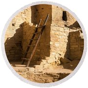 Ladder At House, Cliff Palace, Mesa Round Beach Towel