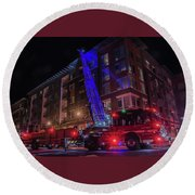 Ladder Truck Deployed At Night Round Beach Towel by Jeff at JSJ Photography