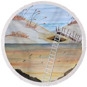 Round Beach Towel featuring the painting Ladderway by Edwin Alverio
