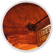 Round Beach Towel featuring the photograph Ladies Parlor Sign by Carolyn Marshall