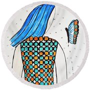Lady And Butterfly Round Beach Towel