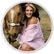 Lady And Her Horse 2 Round Beach Towel