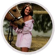 Lady And Her Horse Round Beach Towel