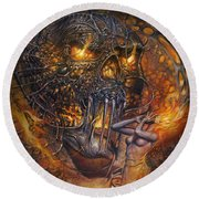 Lady And Skull Round Beach Towel