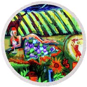 Round Beach Towel featuring the painting Lady And The Grapes by Genevieve Esson