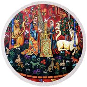 Round Beach Towel featuring the painting Lady And The Unicorn Sound by Genevieve Esson