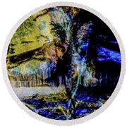 Lady At The Beach Through The Frozen Falls Round Beach Towel