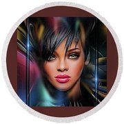 Lady Beautiful Round Beach Towel