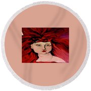 Lady Bloom Round Beach Towel