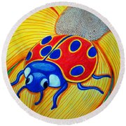Lady Bug Round Beach Towel