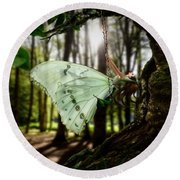 Lady Butterfly Round Beach Towel