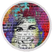 Lady Di Motivational Inspirational Independent Quotes 2 - By Diana Van Round Beach Towel