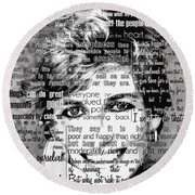 Lady Di Motivational Inspirational Independent Quotes Round Beach Towel