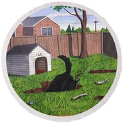 Lady Digs In The Backyard Round Beach Towel