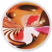 Round Beach Towel featuring the digital art Lady Godiva by Paula Ayers